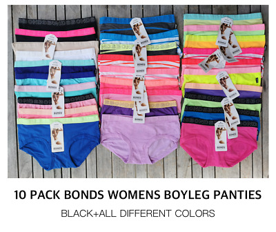 BRAND NEW 10 pack Bonds Womens Underwear Cotton Boyleg Boyshorts size 8-16