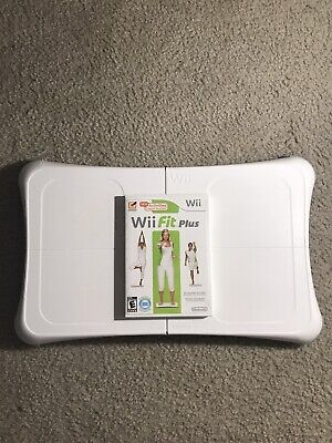 Wii Fit Plus With Balance Board Nintendo Wii Game Bundle (Cleaned!)