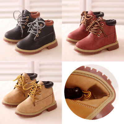 Baby Kids Boy Girl Leather   Snow Boots Children Fur Lined Warm Ankle Shoes
