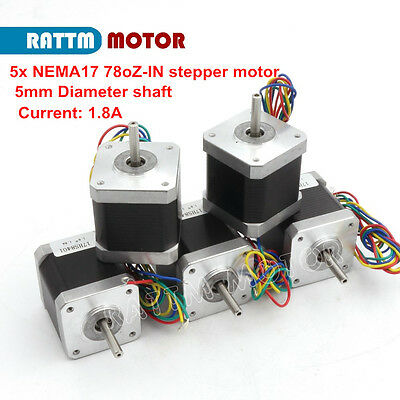 5pcs 42 Stepper Motor Nema17 78oz-in 48mm 4-Lead 1.8A for CNC Router 3D Printer