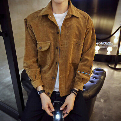 Fashion Men Turn Down Collar Corduroy Retro Long Sleeves Jacket Coat Outerwear