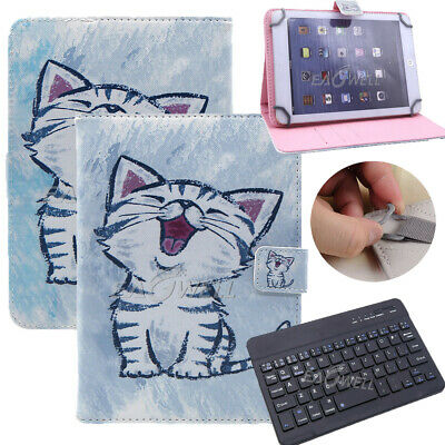"""For 9.7"""" -10.1"""" Tablets Smile Cat Universal Leather Case Cover Wireless Keyboard"""