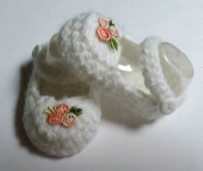 White/Apricot bud flower Mary Jane doll shoes/booties Baby Born American Girl