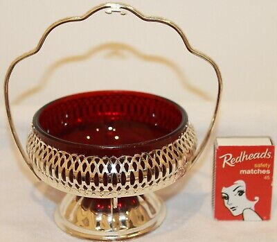 Silver Ruby Red Glass Sugar Condiments Bowl Basket Insert Handle High Tea 1950s