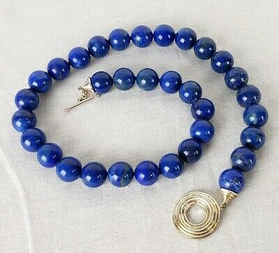Vintage chinese Sterling Silver and Lapis Lazuli Beaded Necklace Quality Undyed