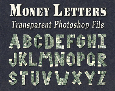Image of MONEY ORIGAMI LETTERS Tranparent Photoshop file Clear Background Dollar