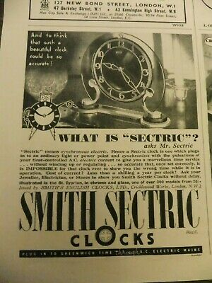 1937 Advert...smith 'Sectric' Clock,