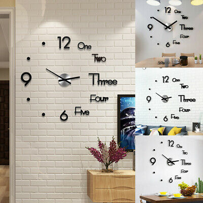 DIY 3D Large Number Mirror Wall Watch Wall Clock Home Decor Modern Art Clock UK