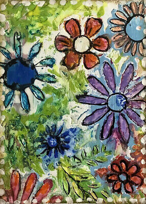 """Artist Trading Cards ACEO Cards Original Painting Whimsy Flowers    2.5"""" X 3.5"""""""