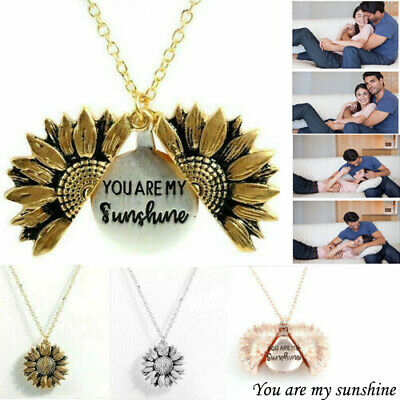 You are my sunshine Sunflower Open Locket Pendant Chain Necklace Christmas Gift