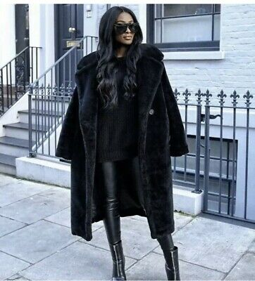 New H&M Black Oversized Soft Faux Teddy Fur Long Coat Uk Large Sold Out Blogger