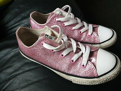 Girls/womens Very Smart Pink Glitter Sparkle Converse All Star Shoes *UK Size 1*