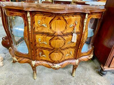 French Style Mahogany & Kingwood Marquetry Ormolu 2 Door 3 Drawer Commode/Bombe