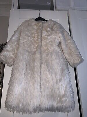 Girls Arabella & Addison lined Cream Ivory Faux Fur  Coat Age 3-4 Years