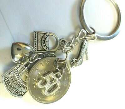 50th BIRTHDAY  Bespoke  Keyring  with 1970  5 pence Coin & varied charms