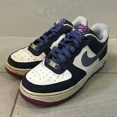 NIKE AIR FORCE 1 Trainers Womens Size UK 5.5 Blue And White Upper Lace Up