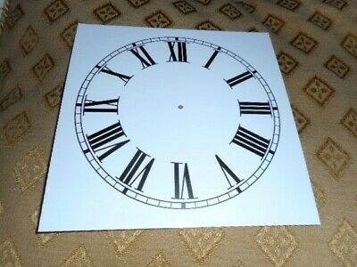 """Square Paper (Card) Clock Dial - 5 1/2"""" M/T -Roman- GLOSS WHITE -  Parts/Spares"""
