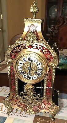 Antique French Tortoise Shell Boulle Table Clock
