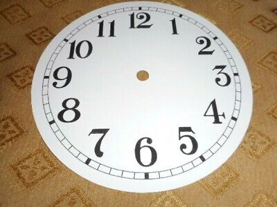 "Round Paper (Card) Clock Dial - 5 3/4"" M/T - Arabic - GLOSS WHITE -Parts/Spares"