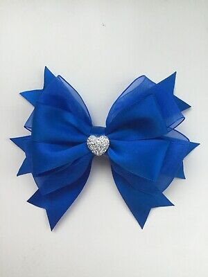 "Wedding Flower Girl School Large 5"" Girls Royal Blue Hair Bow Clip Sparkly Heart"