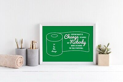 Funny Bathroom Wall Art Poster Green & White Bathroom Prints Toilet Pictures