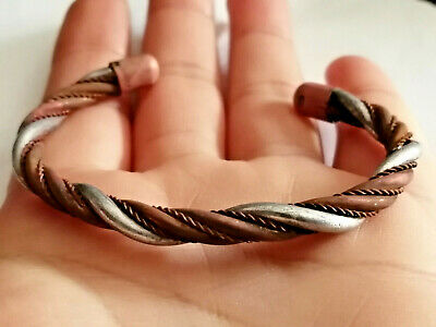 FABULOUS Viking Bronze Silver Ancient Twisted Bracelet Norse Solid Bracelet