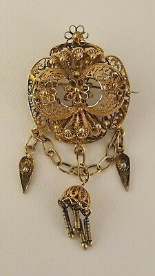 Antique Gold Wash Sterling Silver Filigree Pin Brooch Ornate Victorian
