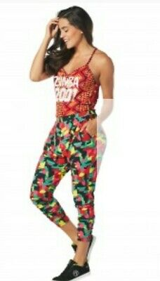 ZUMBA Wear LET'S JAM L Lovely Retro Multicolored 2001 Graphic Print Jumpsuit-NEW