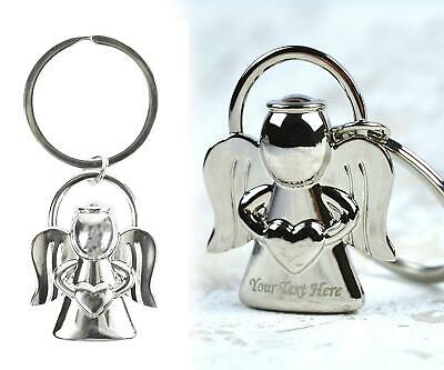 Personalised Angel Keyring Engraved Metal Silver Valentine's Birthday Gift Pouch