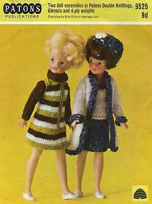 """Vintage Knitting Pattern PATONS 952 Sindy  11"""" Doll Clothes"""