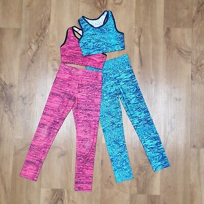 Girls age 8 - 9 gym leggings crop top outfit 2 x sets pink blue activewear
