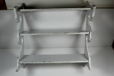 Vintage Distressed Small White Display Shelf, Antique, Authentic, Classic