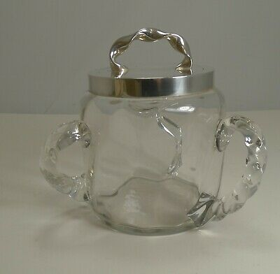 Antique Twisted Three Handled Glass & Silver Plate Biscuit Box c.1890