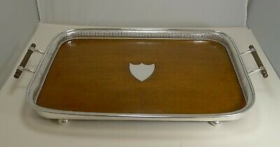 Grand Large Antique English Oak and Silver Plate Drinks / Serving Tray c.1900