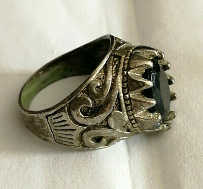 Rare Extremely Ancient Roman Ring Metal Color Silver Artifact With Stone
