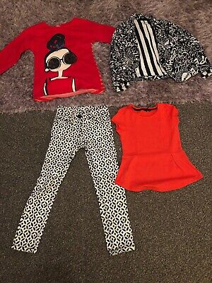 Girls Next Jeans Jumper Top Jacket Bundle Age 7 Vguc Red Navy White