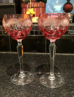 Czech Bohemian Quality Crystal Hock Wine Glass Cranberry/ruby Cut To Clear X 2