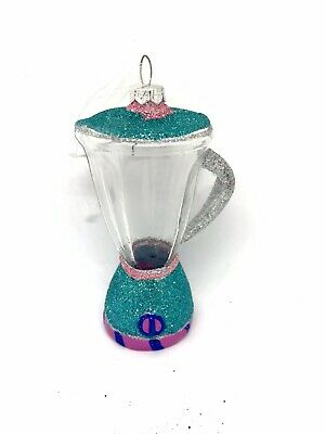 New Blender Whimsical Glass Christmas Tree Ornament Turquoise With Glitter
