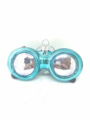 New Sunglasses Whimsical Glass Christmas Tree Ornament Turquoise With Glitter
