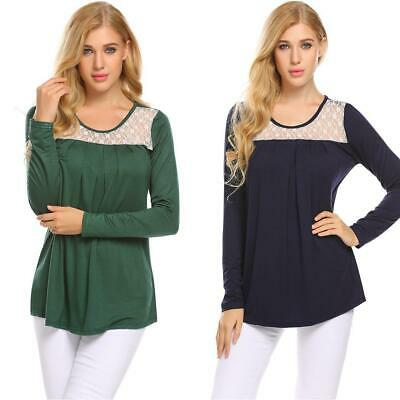 Women Long Sleeve Lace Patchwork Pleated Front Casual Loose T-Shirt Top GDY7