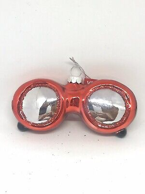 New Sunglasses Whimsical Glass Christmas Tree Ornament Red With Glitter