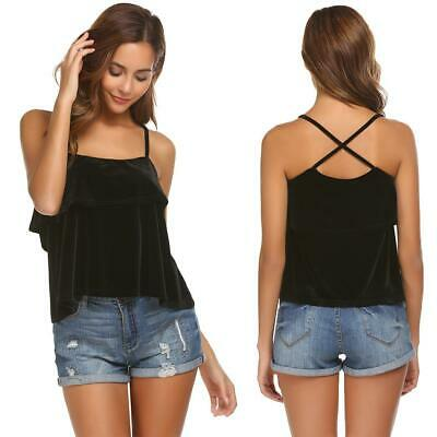 Women Casual Spaghetti Strap Sleeveless Solid Velvet Sexy Tops Vest GDY7