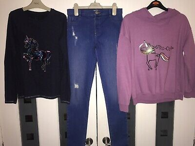Girls Age 11-12, 12 Years, Next Unicorn Top & Jumper, River Island Skinny Jeans