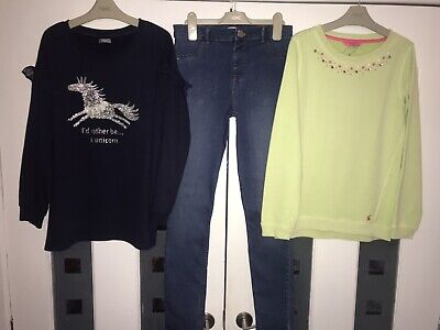 Girls Age 11-12, 12 Years Next Unicorn Jumper, River Island Skinny Jeans, Joules