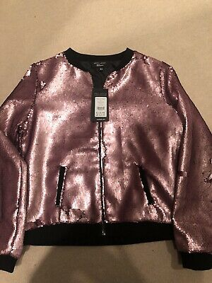 New Look Girls Pink Sequin Bomber Jacket Zip Up BNWT Age 11-12 Years