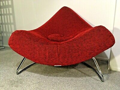 Mid-Century Coconut Red Lounge Striking Armchair Chrome Retro '70 Free Delivery