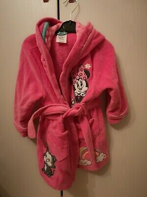 Girls Disney Minnie Mouse Dressing Gown Nightwear Age 2-3 Years, barely worn