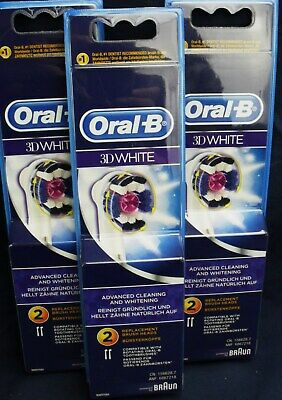 3x 2pk  SIX NEW Genuine 100% ORAL B 3D White Toothbrush Replacement Brush Heads