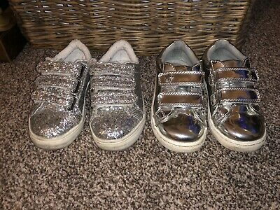 2 Pairs Girls NEXT Shoes Size Infant 9 Silver
