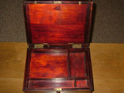 Antique Campaign Brass Accents Walnut, Lap Desk, Traveling Writing Box